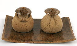 One Of A Kind Salt Pepper Shakers On Plate Set Chinese Asian Kitchen Pottery Art