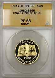 1982 Proof Canada Constitution 1/2 Oz Gold Coin 100 Anacs Pf-68 Dcam Amt