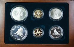 1995 Civil War Battlefield Gold Silver And Clad 6 Coin Proof Andunc Set No Outer Box