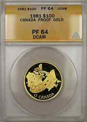 1981 Proof Canada National Anthem 1/2 Oz Gold Coin 100 Anacs Pf-64 Dcam Amt