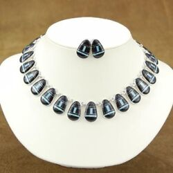 Inlaid Black Onyx And Blue Opal Sterling Silver Choker Necklace And Earrings Set