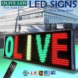 Olive Led Sign 3color Rgy 21x79 Ir Programmable Scroll. Message Display Emc