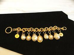 Faux Pearl And Matte Yellow Gold Tone Egyptian Style Charm Bracelet