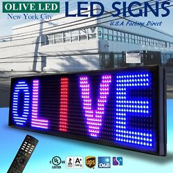 Olive Led Sign 3color Rbp 22x193 Ir Programmable Scroll. Message Display Emc