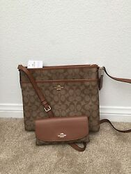 $475 NWT COACH Signature File Cross Body Bag & Matching Checkbook