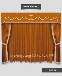Saaria HT-2 Church Event Stage Home Hall Decor Curtains Drapes 20'W x 10'H Rust