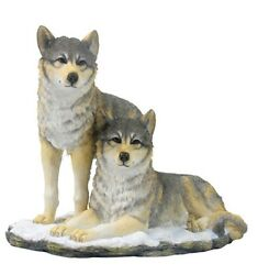 9.25 Wolf Pack Nature Wildlife Animal Statue Collectible Wild Wolves