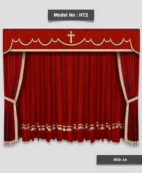 Saaria Church Stage Hall Decor Curtains Valance Drapes 6'W x 8'H Backdrop Cross