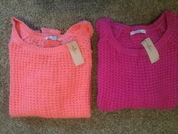 Nwt American Eagle Knit Cotton Sweater Pink Or Orange, Scoop Neck