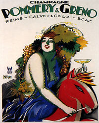 Poster Champagne Pommery Greno Girl On Wooden Horse French Vintage Repro Free Sh