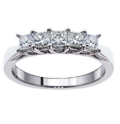 1.00 Ct 5-stone Princess Cut Braided Prongs Wedding Ring In 18k White Gold New
