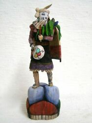 Hopi Carved 11.25 Snow Maiden Kachina Doll Sculpture By Master Carver Aaron H