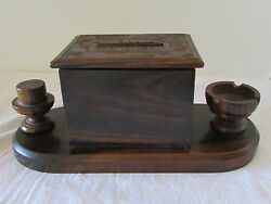1945 Wood Hand Carved Cigarette Dispenser Box With Ashtray And Matchbook Holder