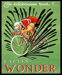 Bike French Bicycle Cycles Wonder France Vintage Poster Repo Free S/h In Usa