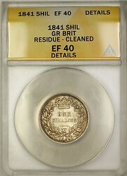 1841 Great Britain 1s Shilling Silver Coin Anacs Ef-40 Details Cleaned Residue