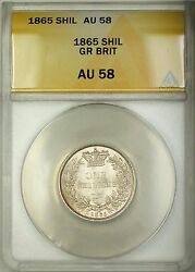 1865 Die 42 Great Britain 1s Shilling Silver Coin Anacs Au-58