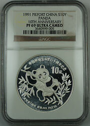 1991 China Silver 10 Yuan Panda 2 Oz Piefort 10th Anniv Ngc Pf-69 Uc Proof Coin