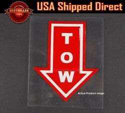 4.5x 3.75 Bumper Red Tow Arrow Point Sign Sticker Adhesive For  Mitsubishi