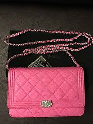 $5400 NIB New CHANEL Limited Ed Pink Python Leather BOY Wallet On Chain WOC Bag