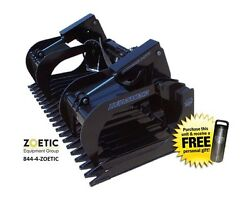 Blue Diamond Skid Steer Extreme-Duty Rock Bucket Attachment w/ Grapples, 72