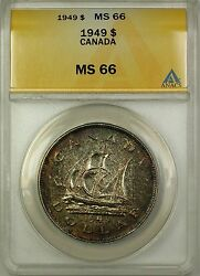 1949 Canada Silver 1 One Dollar Coin Anacs Ms-66 Toned Proof-like