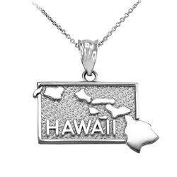 10k White Gold Hawaii State Map United States Pendant Necklace