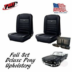 1964-66 Mustang Convertible Front And Rear Deluxe Pony Upholstery Black In Stock