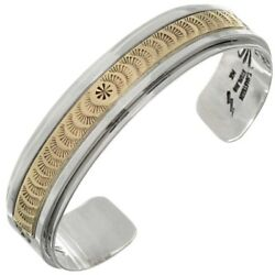 Handmade Gold And Silver Bracelet Navajo Made Sporty Mens Cuff By Tom Ahasteen