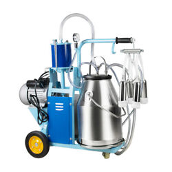 25l Milker Electric Piston Vacuum Pump Milking Machine For Farm Cows Bucket Top
