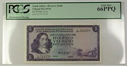 1975 No Date South Africa 5 Rand Bank Note Scwpm 111c Pcgs Gem New 66 Ppq