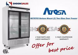 Los Angeles ATOSA MCF8703 2Glass DOOR STAINLESS FREEZER Fast SHIP Free Lift Gate