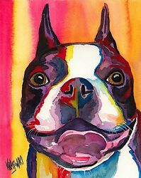 Boston Terrier Art Print from Painting Gifts Poster Picture Home Decor 8x10