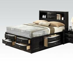 1pc Ireland Bedroom Furniture Transitional Black Finish Storage Queen Size Bed
