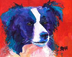 Border Collie Gifts Art Print from Painting Poster Picture Decor 11x14
