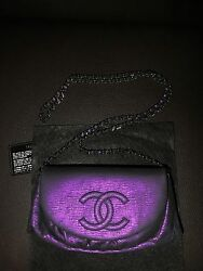 New RARE CHANEL Limited Edition Purple Leather Half Moon Wallet On Chain WOC Bag