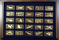 Janeand039s Medallic Register Great Aircraft Proof Gold Plate On Bronze 100 Ingot Set