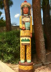 4 Ft White Buffalo Chief Cigar Store Indian Native American Made Frank Gallagher
