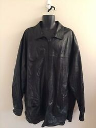 Menand039s Bigandtall Black Leather/suede Size 52 Reversible Shirt By Rochester Special