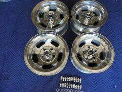 VINTAGE SET 15X7& 14X7 US INDY MAG STYLE POLISHED  5 ON 5 CHEVY CAR OR TRUCK