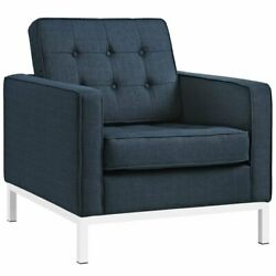 Modway Loft Fabric Tufted Accent Chair in Azure