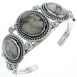 Sterling Silver White Buffalo Turquoise 3-stone Bracelet By Navajo Tom Ahasteen