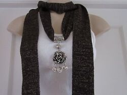 Brown Scarf with Scarf Ring Necklace Pendant 4 Designs