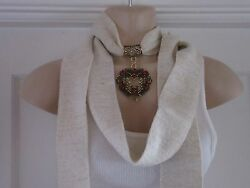 Cream Scarf with Scarf Ring Necklace Pendant 4 Designs