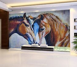 3d Horses Painted Wall Paper Print Decal Wall Deco Indoor Wall Mural