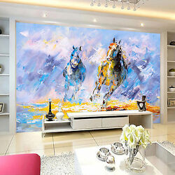 3d Run Horses Painted Wall Paper Print Decal Wall Deco Indoor Wall Mural