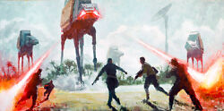 At-act Walkers Beach Battle Lasers Star Wars Rogue One Artwork Giclandeacutee On Canvas