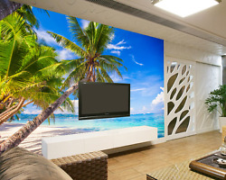 3d Sunny Beach Trees 24 Wall Paper Wall Print Decal Wall Deco Wall Indoor Murals