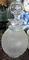 New Lalique Langeais Ribbed Frosted Wine Crystal Decanter France Retail 1,600