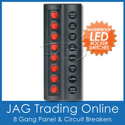 8 Gang Red Round Led Rocker Switch Panel And Circuit Breakers -marine/boat/caravan