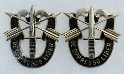 Matched Set Of Special Forces Double Skull Distinctive Insignia Di